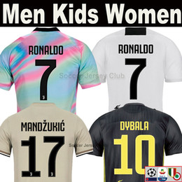 ronaldo grey jersey Promo Codes - 18 19 JUVENTUS RONALDO MAGLIA EA Sports soccer jersey 2019 DYBALA MANDZUKIC JUVE Champion league man women kids top Thai football shirts