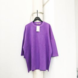 Viola top donne online-2019 Top Quality Kanye West 1a: 1 stagione 5 oversize viola mezza manica magliette tees Hiphop Streetwear donna uomo t-shirt in cotone
