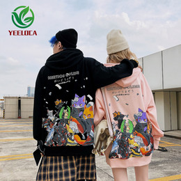dessin animé couple de conception Promotion 2019 Dropshipping Automne Hiver animal Cartoon Imprimer Hoodie Casual Couple Sweat-shirt Homme surdimensionné Brand Design Mme Top Y200519