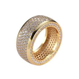Pietre del ghiaccio online-Mirco in rame dorato / argento CZ stone Anello Hip Hop All Iced Out Uomo CZ Stone Rings R005