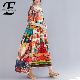 4615b6e4730f Elegdream Oversized Women Printed Bohemian Maxi Dress Summer 2019 Ladies Plus  Size Casual Cotton Linen Long Dresses Vestidos 8XL