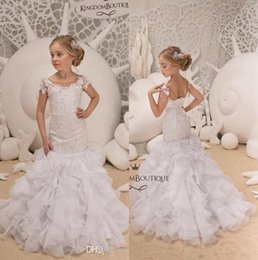 03250cd505f Little White Lovely Short Sleeve Mermaid Girl Pageant Gowns 2019 Sheer Neck  Lace Appliqued Tiered Skirts Corset Back Flower Girl Dresses discount corset  ...