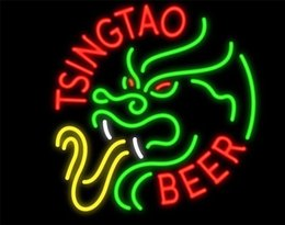 neon beer signs Promo Codes - New Star Neon Sign Factory 17X14 Inches Real Glass Neon Sign Light for Beer Bar Pub Garage Room Tsingtao Beer.