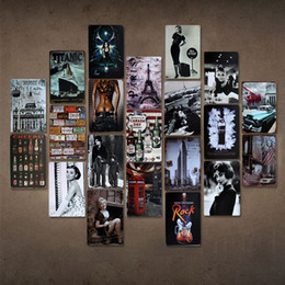 Metall wand kunst dekor hängen online-Retro Metall Malerei 20 * 30 cm Wand Handwerk Retro Metall Poster Bar Pub Zeichen Wandkunst Aufkleber Bar Hause Hängen Kunst Decor