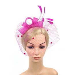 European and American bridal veil hair adorn wedding bow hat head flower  photo photo feather mask face net gauze jewelry wedding head net deals bd817340c743