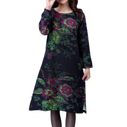 vestidos de maternidade elegante outono Desconto Vestidos de maternidade elegante outono maternidade moda feminina plus size folk-costume solto floral impresso algodão e linho dress 4731