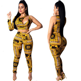 a8f39412e0a Fashion Women Bandage Jumpsuit Golden Print One Shoulder Long Sleeve Two Pieces  Clubwear Sexy Club Party Jumpsuits Outfit YD083