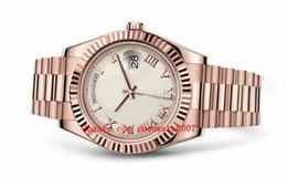 Mens relógios números romanos on-line-6 estilo na caixa original Presidente Day-Date 41mm preto Dial Algarismos Romanos Bezel 218235 228348 Ásia 2813 Movimento Mens Watch