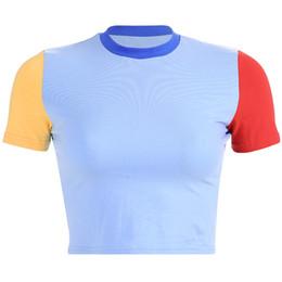 Женская футболка онлайн-Weekeep Women Patchwork O-образным вырезом с коротким рукавом футболки Сексуальная укороченная футболка Bodycon 2019 Streetwear футболка femme Crop Top