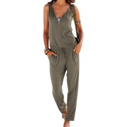 8c2e2f6d88f Women Fashion Jumpsuits Long Overalls Jumpsuit 2019 Sexy V-Neck Summer  Beach Sleeveless Overalls Outfits Rompers Plus Size LX341