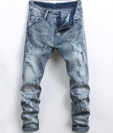 новые стильные джинсы mens Скидка Mens Designer Jeans Pencil Hole Slim Fit Elastic Cool Stylish Men Spring And Summer New Fashion Casual Pants