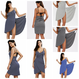 Bath Striped Towel Bathrobe Beach Dress Fast Dry Wash Clothing Wrap Women sleeveless towels robe de plage beach dress Holiday LJJA2421 nereden