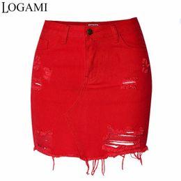 Женская красная юбка-карандаш онлайн-Женская джинсовая юбка с завышенной талией и мини-юбкой-карандашом, весна-лето, рваная, сексуальная женская юбка красная C19041201