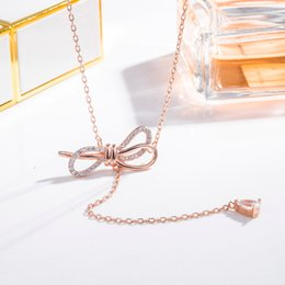 korean pendants Promo Codes - Electroplated 18K Gold Bow Crystal Pendant Tassel Necklace Hot Korean Korean Internet Celebrity Choker Woman Fashion Jewelry