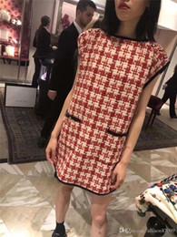 2019 Femmes Designer Dress Plaid Loose Boutons Robes Poches Manches courtes Boutique Femmes vetements Européen USA ? partir de fabricateur