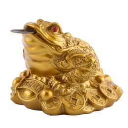 Fortuna de decoracion online-Feng Shui Toad Money LUCKY Fortune Wealth Chinese Golden Frog Toad Coin Decoración de oficina en casa adornos de mesa Regalos afortunados D19010902