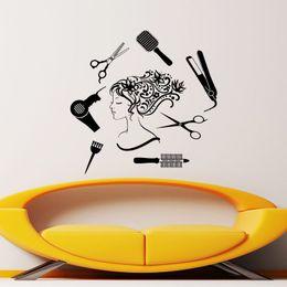saloni arredamento Sconti Hair Salon Hair Dressing Tools Bella ragazza Wall Sticker Creativo rimovibile in vinile impermeabile Home Decor