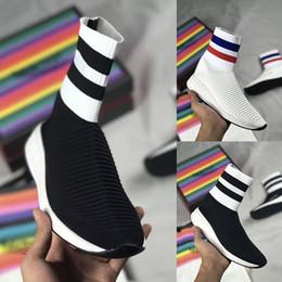 2019 i capretti calzini bianchi delle scarpe nere Scarpe da corsa sneakers a maglia elasticizzata da donna di alta qualità per bambini 2019 Scarpe da ginnastica per bambina di design di lusso per bambina, da donna, scarpe da ginnastica bianche nere sconti i capretti calzini bianchi delle scarpe nere
