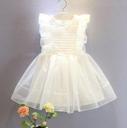 2019 vestidos de tutú para niñas 12 años Venta al por menor vestido de las niñas coreana dulce Lotus Edge Edge hada bebé niña vestidos ropa de diseñador niñas niños boutique niños Ropa 2-12Y vestidos de tutú para niñas 12 años baratos