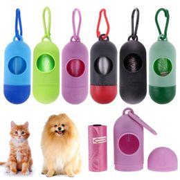 Sacchetti di spazzatura per cani online-Sacchetti di plastica per cani Dispenser di animali domestici portatile Custodia per immondizia Sacchi per cacca Sacchetti per rifiuti per animali domestici sacchetti usa e getta per animali domestici LJJA2933