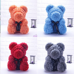flower girl bear Promo Codes - 2019 Hot 25 40cm Luxury Red Teddy Bear Rose Baked Bear Pike and Rose Fashion Gifts for Women Girl Children Grizzly Flower