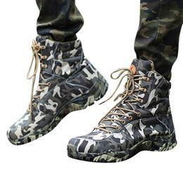 botas de lona Desconto MUQGEW camuflagem High-Top caminhadas sapatos para homens Moda Botas De Escalada À Prova D 'Água Camuflagem Tático Botas chaussures