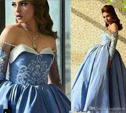 Атласная тафта онлайн-2019 новые синие платья выпускного вечера бальное платье с плеча бисером милая декольте иллюзия с длинными рукавами до щиколотки тафта вечерние платья