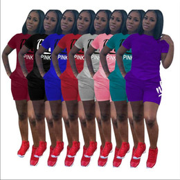 vs shirt Promo Codes - PINK Letter Tracksuit VS Fashion Women Summer Clothing suit Letters Printed T-shirt +Shorts 2pcs Sets Lady Casual Sport Outfits S-3XL A2202
