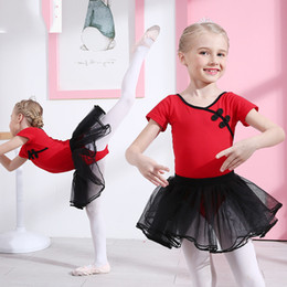 Одежда для гимнастики для девочек онлайн-Girls short Sleeve Ballet Dancer Tutu Dress Princess Gymnastics Dancing Wear Performance Dance Costumes Clothes with skirt
