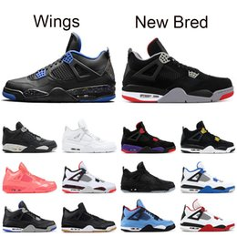 sports shoes 5c1c5 b4245 New Bred 4 Herren Basketballschuhe 4s schwarz rot PALE CITRON Katze PURE  MONEY OREO Weißzement ALTERNATE Wings Mode Herren Sport Sneakers