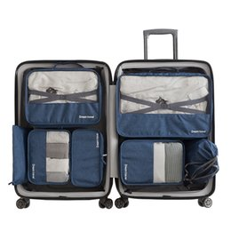 7 Unids / set Bolsa de Viaje Informal Unisex Equipaje Embalaje Cubo Ropa Zapatos Bolsa Organizador de Equipaje Clasificación de Viaje Accesorios Suministros desde fabricantes