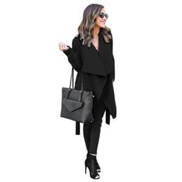 e6d88be23b654 2018 hiver manteaux femmes automne laine mélange mode vestes de revers sexy  col v ceinture lace-up solide occasionnels pardessus mince manteaux femme