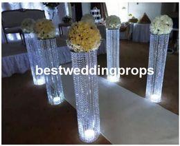 flores de cristal para casamento Desconto Novo estilo de cristal peça central do casamento passarela pilar casamento flor stand decoração do partido mesa deoctation decor00030