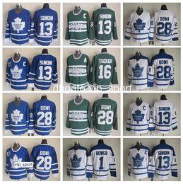 Canada Maillots de hockey des Maple Leafs de Toronto Hockey sur glace Hommes 13 Mats Sundin 28 Cravates Domi 1 Johnny Bower 16 Maillot Darcy Tucker Vintage Bleu Blanc cheap icing leaf Offre