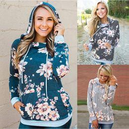 2019 livre tricô cardigans padrões 2019 Novo Floral Camo Com Capuz Com Cordões Floral Primavera Algodão Casuais hoodies para as mulheres Senhora