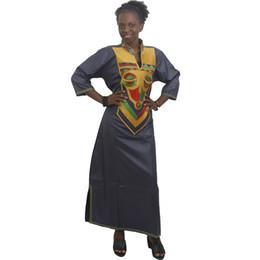 Традиционные образцы онлайн-MD африканские платья для женщин плюс размер леди платье воск вышивка картины африканская одежда традиционное длинное платье 2019 халат femme