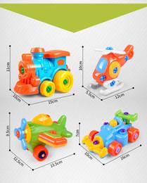 2019 coches de juguete de montaje Kawaii niños bebé aprendizaje temprano avión desmontaje montaje rompecabezas educación juguetes dibujos animados tren coche pequeño juguete coches de juguete de montaje baratos