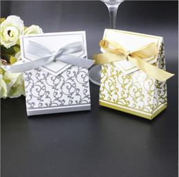 2019 papier d'emballage en argent Mariage romantique boîtes à bonbons cadeau de fête en ruban de ruban d'argent d'or de conception de luxe Cookies Wrap Sacs papier d'emballage en argent pas cher