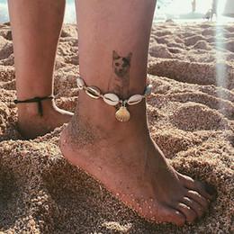 2019 женская нога цепь Девушка ручной работы оболочки ножной браслет женщина богемный браслет мода Shell пляж ноги цепи Леди ювелирные изделия партии фестиваль подарок TTA1280 дешево женская нога цепь