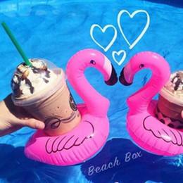 juguetes de baño de navidad Rebajas Beba el sostenedor de Botlle Flamingo Inflable Lovely Pink Floating Bath Kids Toy Regalo de Navidad para niños La taza puede flotar Flotador de agua de natación