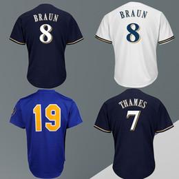 jersey de béisbol de franela Rebajas Camisetas de béisbol 7 THAMES 8 BRAUN 19 camisetas de bordado barato y fino Logotipo famoso Camisetas de alta calidad