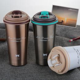 versiegelt das auto Rabatt 500 ML Thermosbecher Kaffeetasse mit Deckel Thermocup-Dichtung Edelstahl-Vakuumflaschen Thermoskannen Thermobecher für Auto meine Wasserflasche