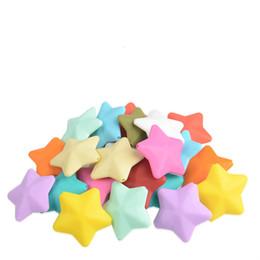 50 Pz / lotto 40mm Fivestar Silicone Dentizione Perle per Neonati Massaggiagengive Chewing Allattamento Silicone Perle Food Grade Safty da grandi perline blu fornitori