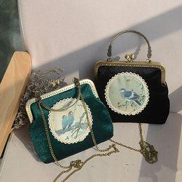 ARPIMALA Çin Tarzı Çerçeve Çanta Ulusal El Yapımı Manşonlar Vintage Kadife El Çantası Kuş Çiçek Toka Çanta Bayan Akşam Çanta nereden