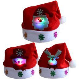 enciende muñeco de nieve Rebajas Regalo de Navidad sombrero Feliz Navidad Kid Adult luz LED Cap Hasta Santa Claus muñeco de nieve Elk