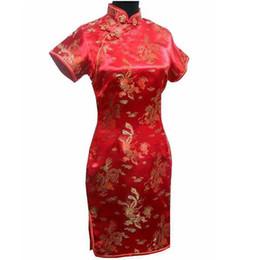 Vestidos de noche clásicos de china online-Señora asiática vestido de noche de boda chino clásico rojo mujeres Qipao elegante delgado dividir Cheongsam Mini Vestidos más el tamaño 3XL-6XL