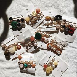 2019 botón de accesorios para el cabello Vintage 3 unids / set moda coreana mujeres imitación perla pinza de pelo botón diadema horquilla pasador accesorios de horquilla nuevo botón de accesorios para el cabello baratos