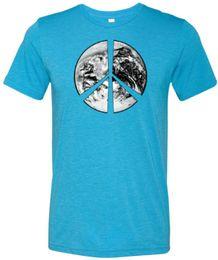 compre camisas pretas Desconto Comprar Camisas Frescas Paz T-shirt Símbolo Satélite Da Terra Tri Mistura Tee Homens Mulheres Unisex Moda tshirt Frete Grátis preto