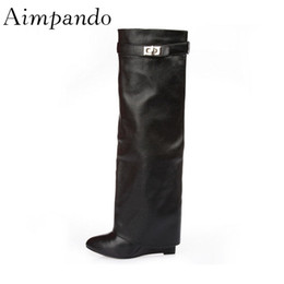 1c8eee18bb65 Discount long leather boots for women - 2019 Autumn Winter Point Toe Knee  High Boots Fashion