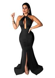 Épaule élégante robe de sirène femmes évider avant haute Split robe de soirée Club Summer Halter Backless Bandage Dress NB-1381 ? partir de fabricateur